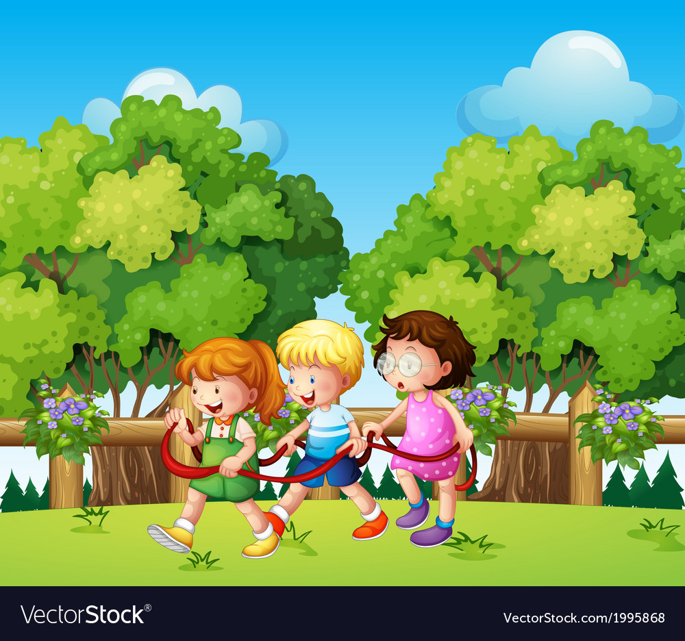 Kids playing outdoor during daytime vector | Price: 3 Credit (USD $3)