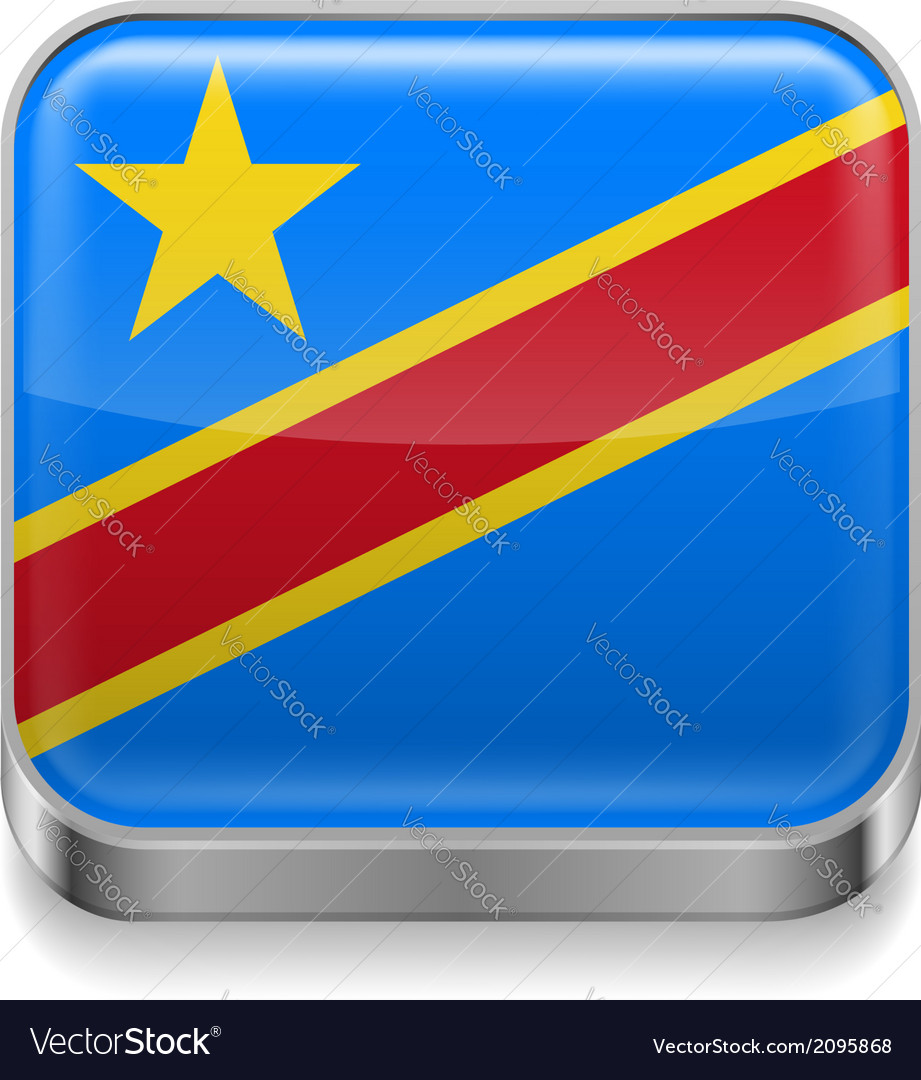 Metal icon of democratic republic of the congo vector | Price: 1 Credit (USD $1)