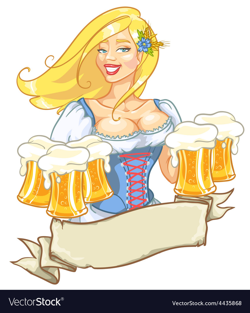 Pretty pin up girl with beer mugs vector | Price: 3 Credit (USD $3)