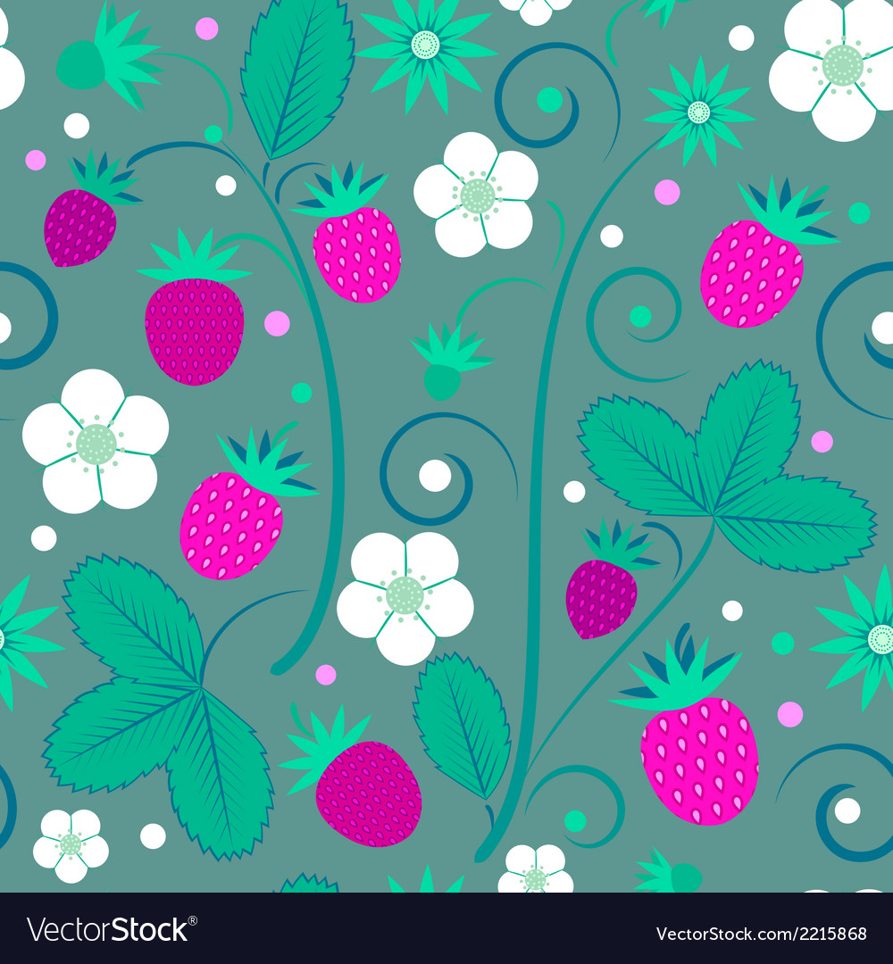 Seamless pattern with strawberries vector | Price: 1 Credit (USD $1)