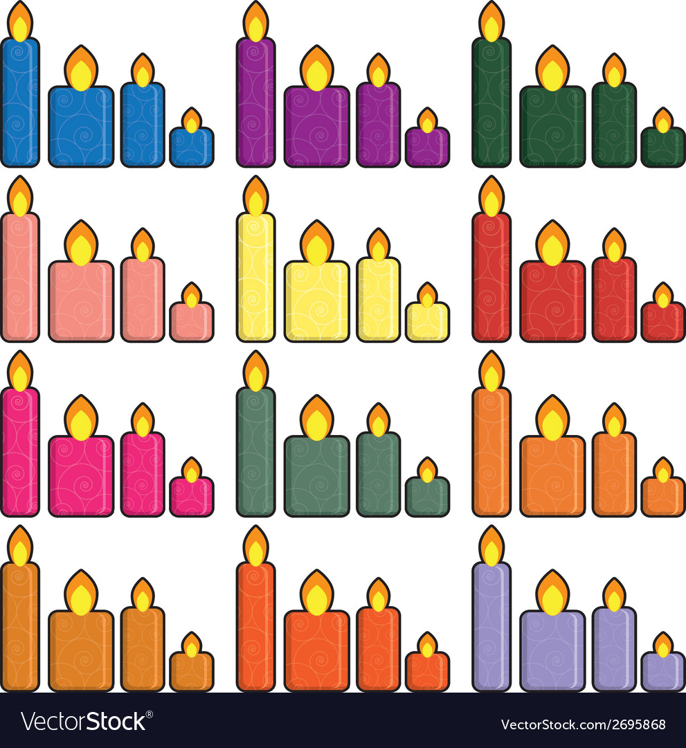 Set of christmas icons candles in a simplified vector | Price: 1 Credit (USD $1)