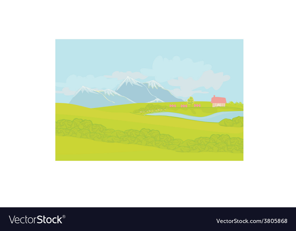 Spring rural landscape vector | Price: 1 Credit (USD $1)