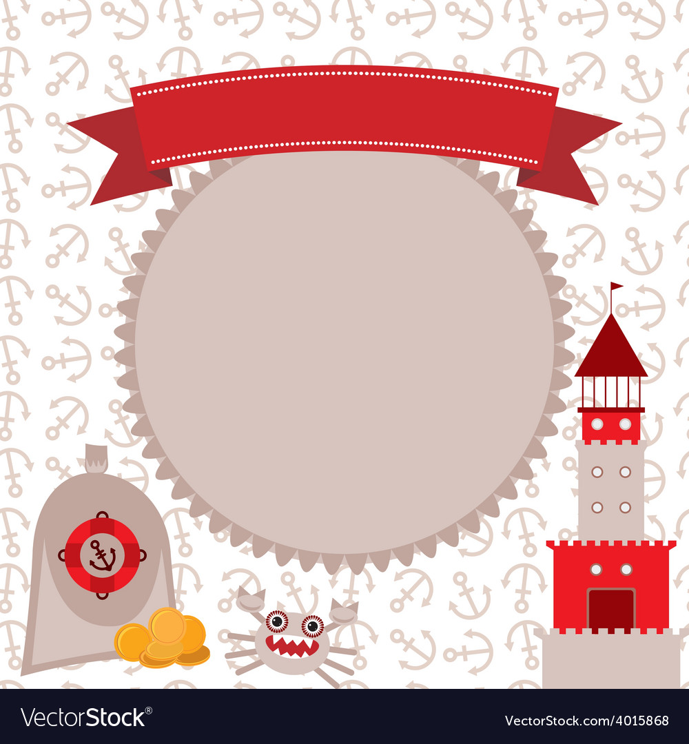 Vintage scrap nautical card cute sea objects vector | Price: 1 Credit (USD $1)