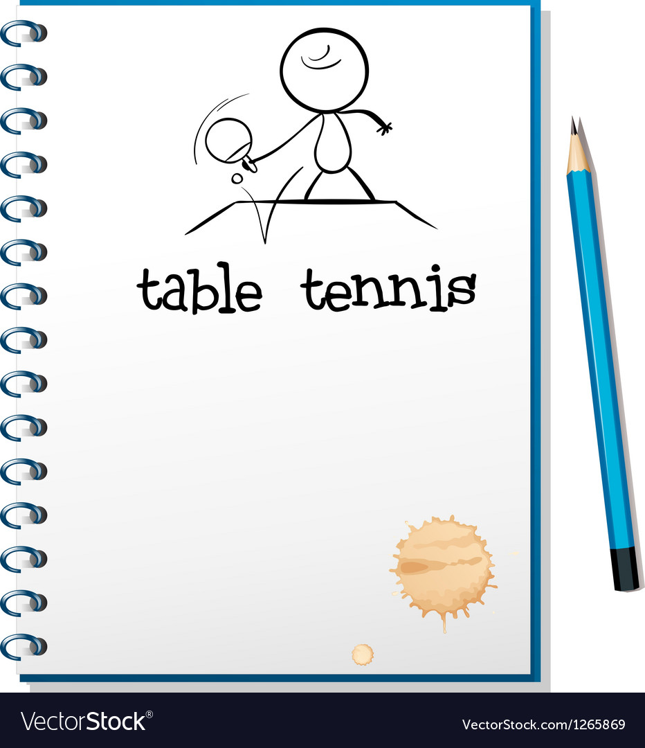 A notebook with a sketch of a table tennis player vector | Price: 1 Credit (USD $1)