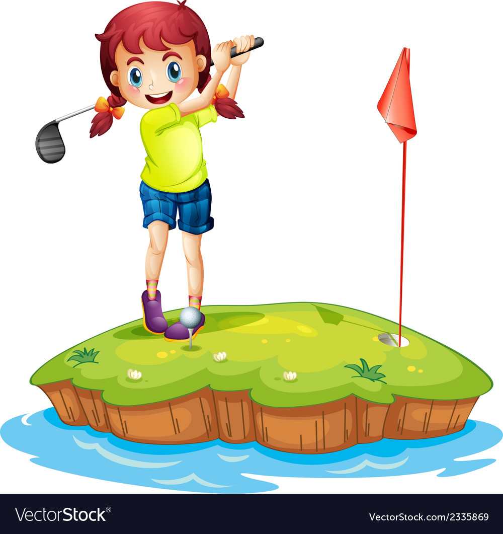 An island with a girl playing golf vector | Price: 3 Credit (USD $3)