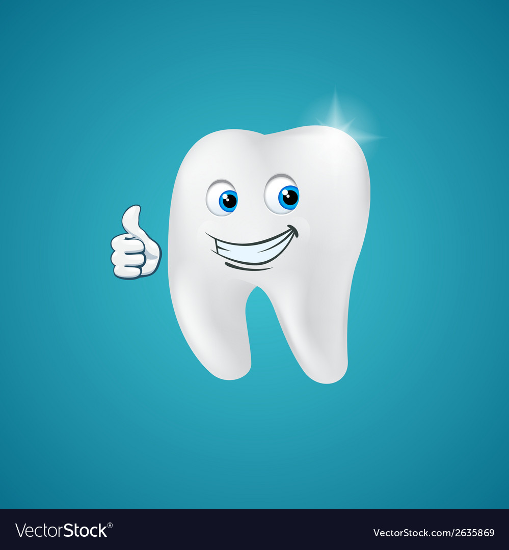 Animated hero happy human tooth vector | Price: 1 Credit (USD $1)