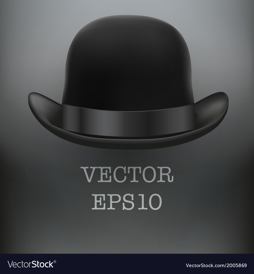 Black bowler hat on a white background vector | Price: 1 Credit (USD $1)