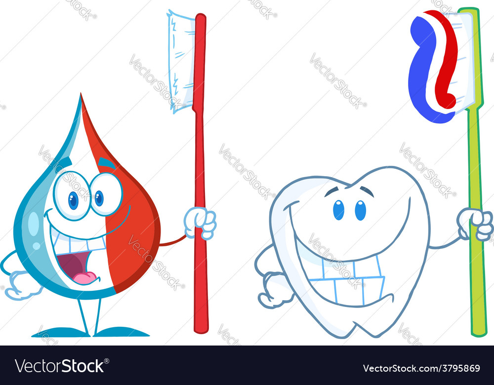 Cartoon droplett with toothbrush vector | Price: 1 Credit (USD $1)