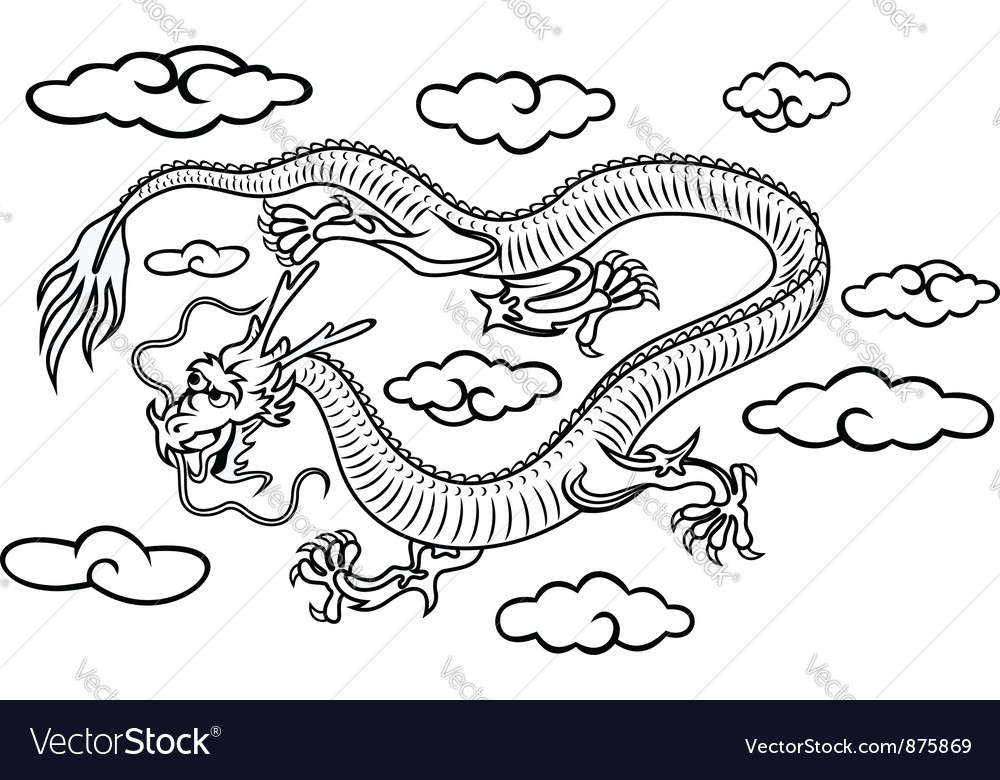 Chinese dragon in clouds vector | Price: 1 Credit (USD $1)