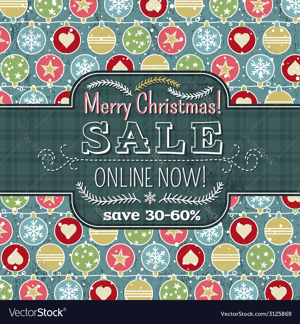 Christmas background with balls and label for text vector | Price: 1 Credit (USD $1)