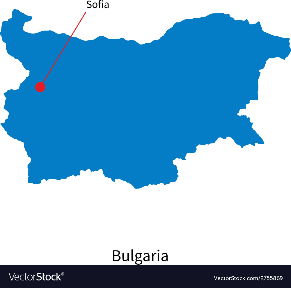 Detailed map of bulgaria and capital city sofia vector | Price: 1 Credit (USD $1)