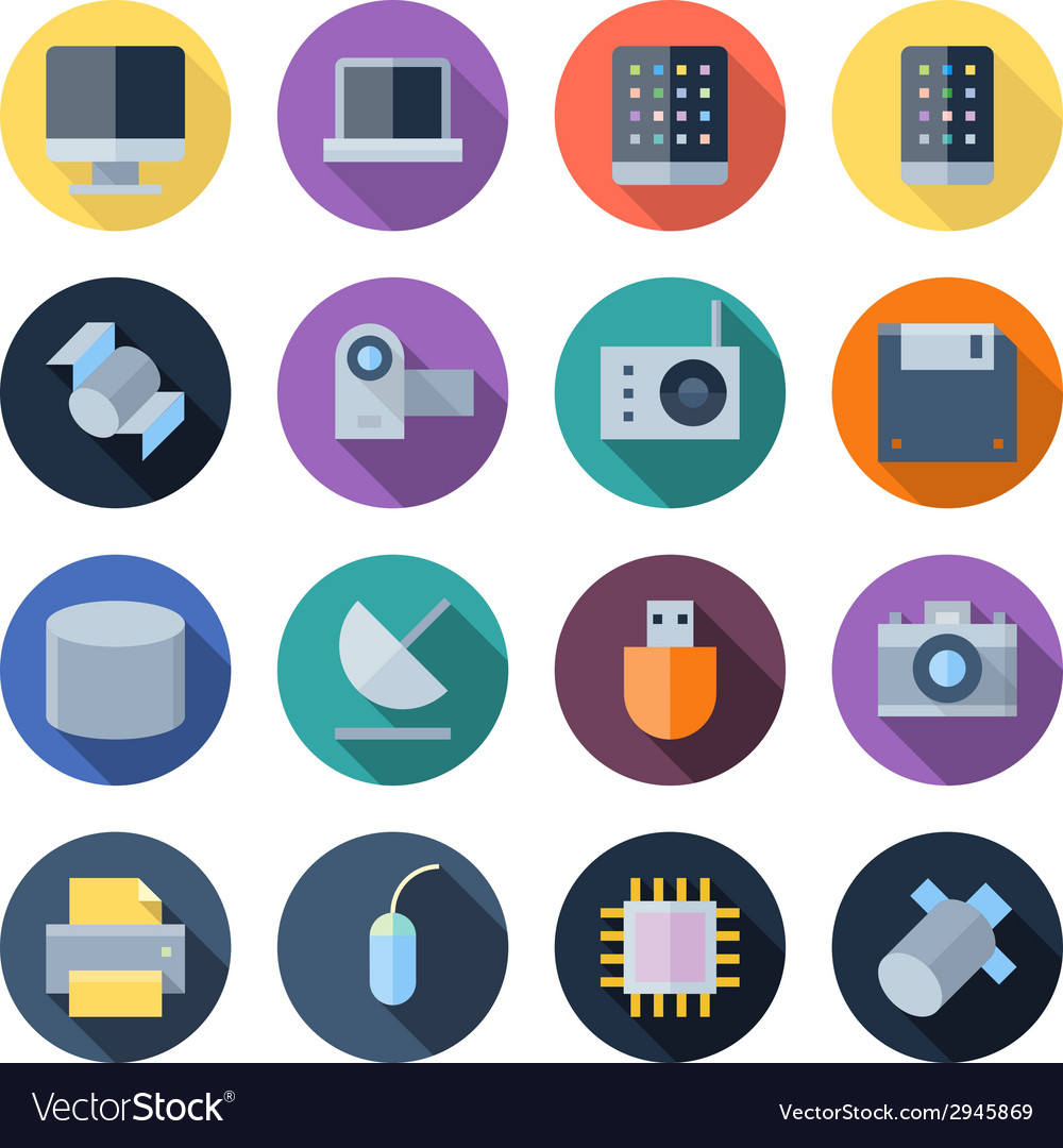 Flat design icons for technology and devices vector   Price: 1 Credit (USD $1)