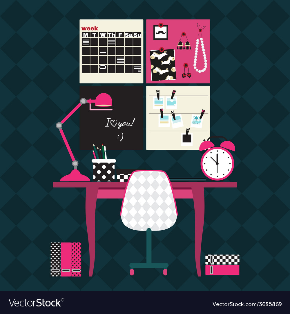 Flat of home office workplace vector | Price: 1 Credit (USD $1)