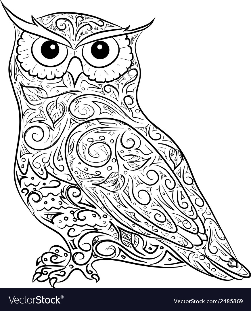 Hand drawing owl vector | Price: 1 Credit (USD $1)
