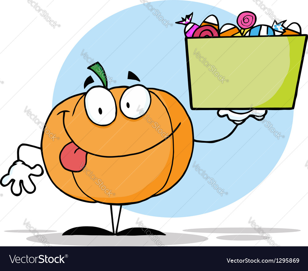 Pumpkin holding up a tub of candy vector | Price: 1 Credit (USD $1)
