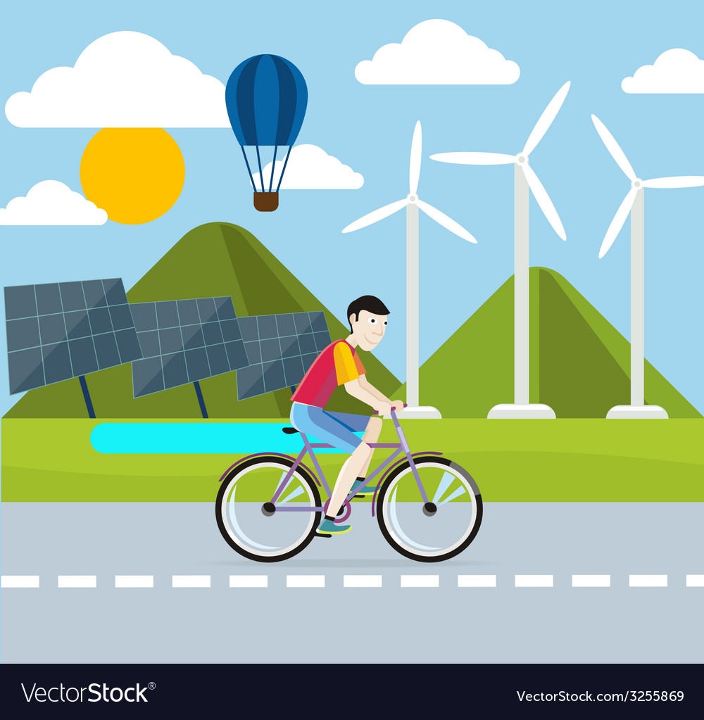 Renewable energy concept solar and wind energy vector   Price: 1 Credit (USD $1)