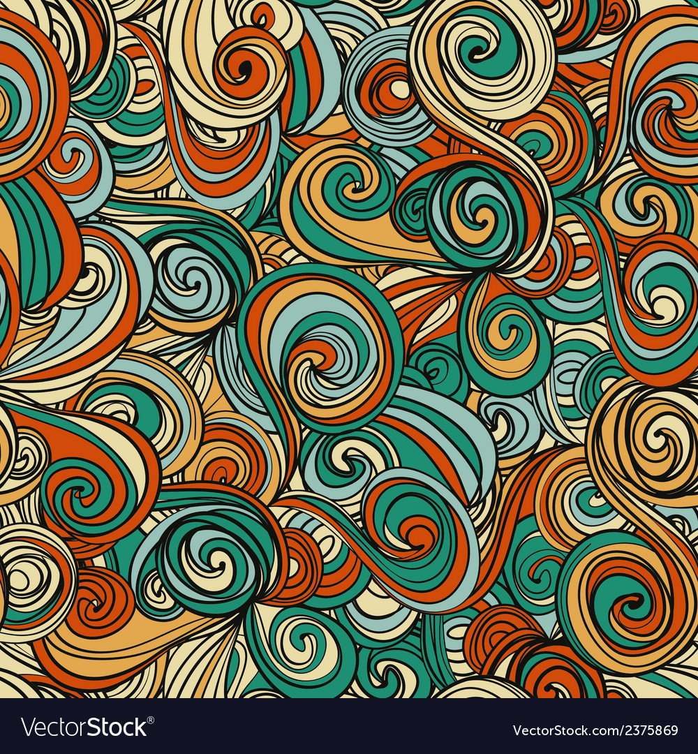Seamless abstract hand-drawn waves pattern vector | Price: 1 Credit (USD $1)