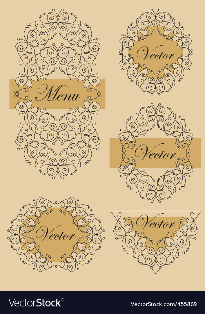 Set victorian butterfly frames vector | Price: 1 Credit (USD $1)