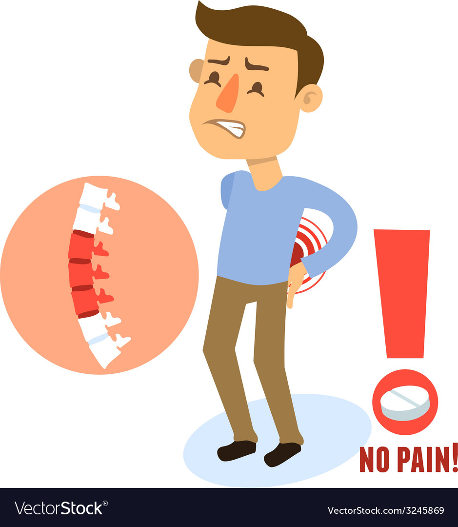Sick character back pain vector | Price: 1 Credit (USD $1)