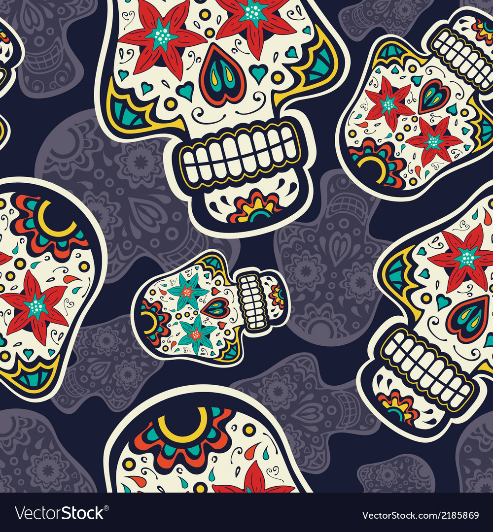 Sugar skulls pattern vector | Price: 1 Credit (USD $1)