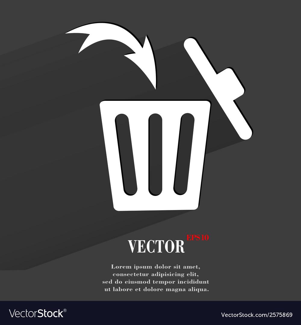 Trash bin flat modern web button with long shadow vector | Price: 1 Credit (USD $1)