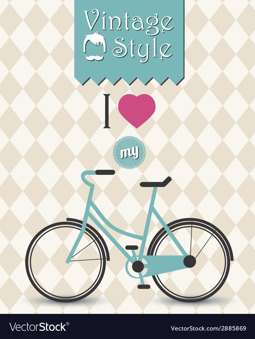 Vintage hipster bicycle background vector | Price: 1 Credit (USD $1)