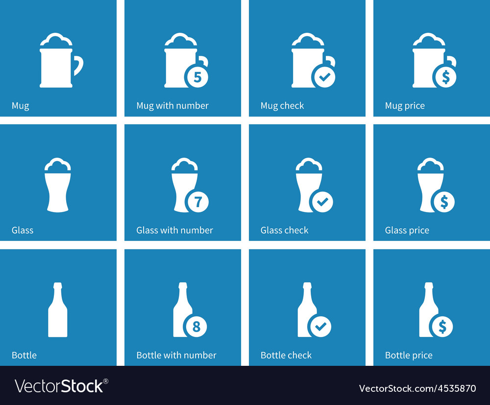 Bottle and glass of beer icons on blue background vector | Price: 1 Credit (USD $1)