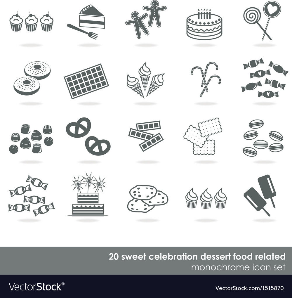Dessert food icon set vector | Price: 1 Credit (USD $1)