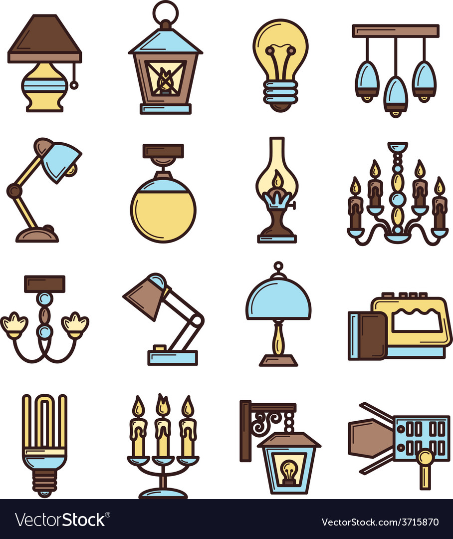 Light icon set vector | Price: 1 Credit (USD $1)