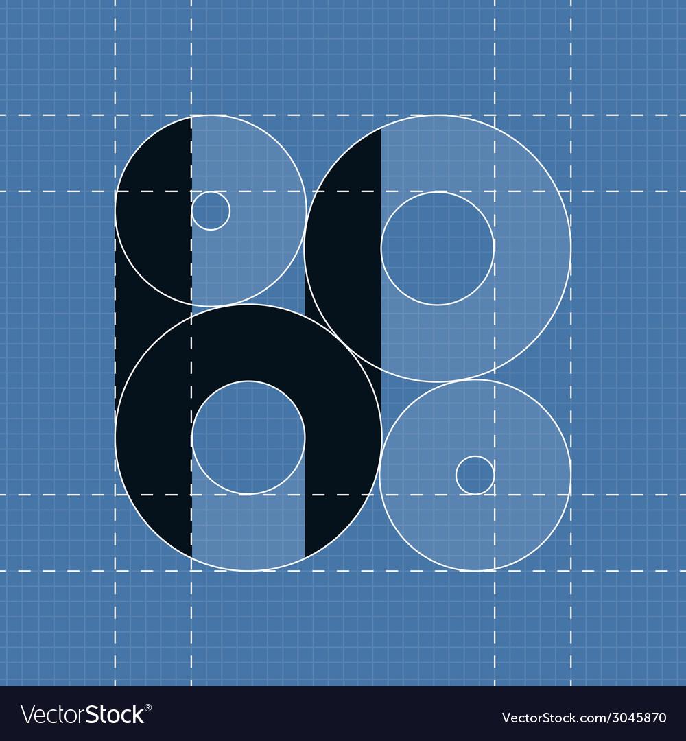 Round engineering font symbol h vector | Price: 1 Credit (USD $1)