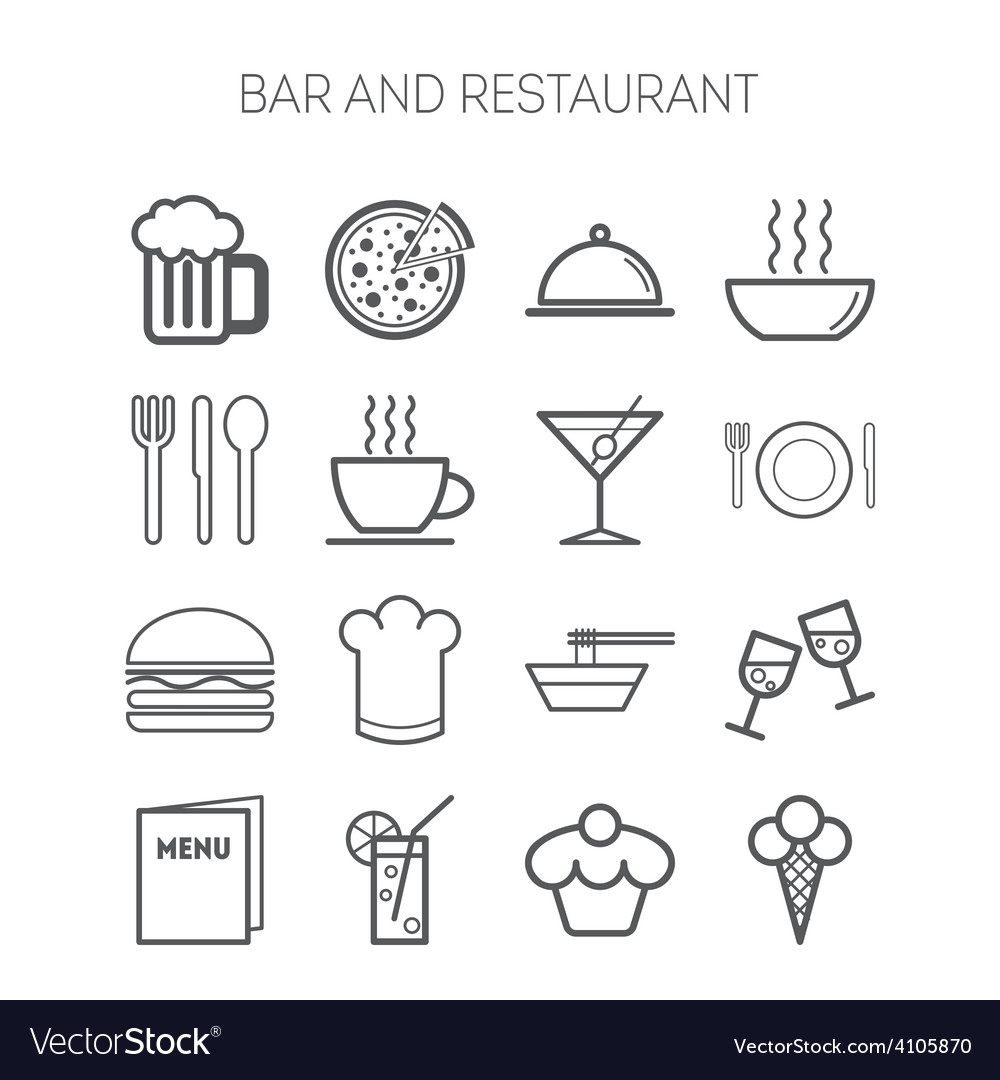 Set of simple icons for bar cafe and restaurant vector | Price: 1 Credit (USD $1)