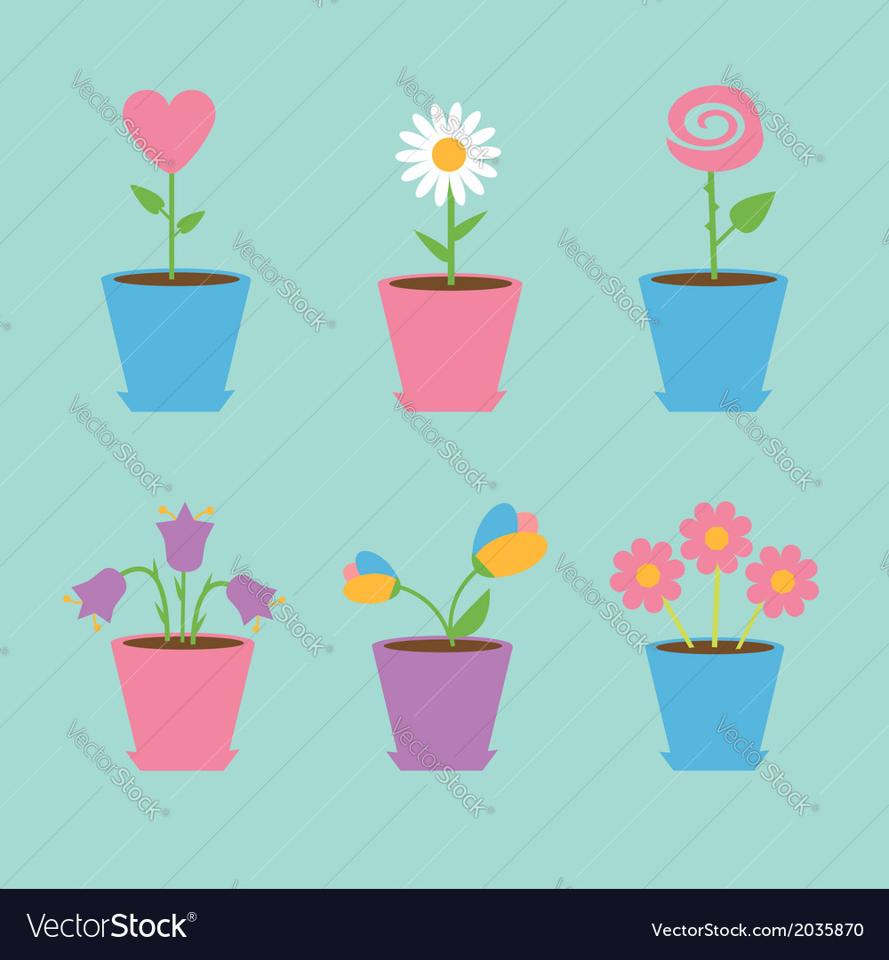 Set of six flowers in pots blue background card vector | Price: 1 Credit (USD $1)