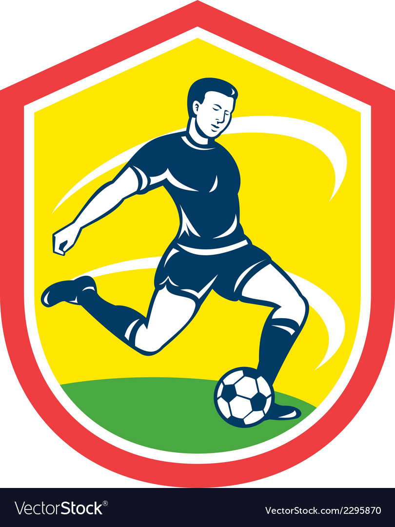 Soccer player kicking ball retro vector | Price: 1 Credit (USD $1)