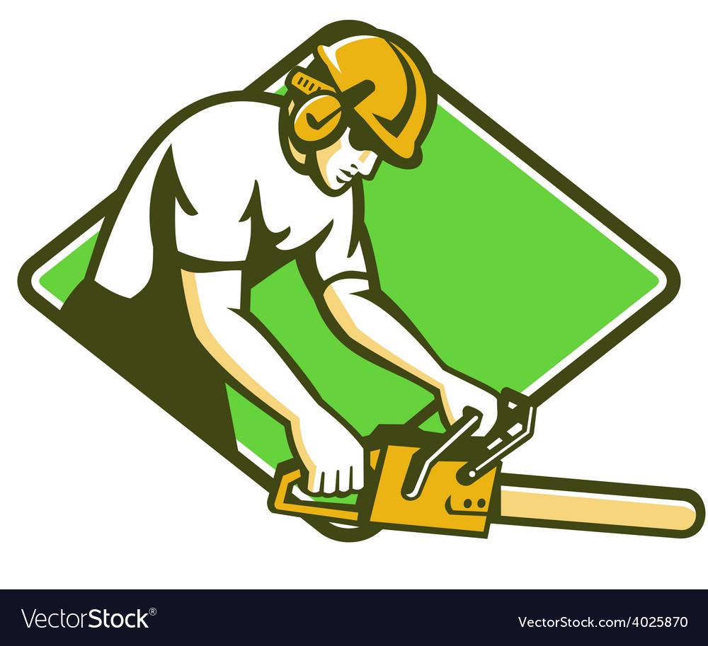 Tree surgeon arborist lumberjack chainsaw vector | Price: 1 Credit (USD $1)