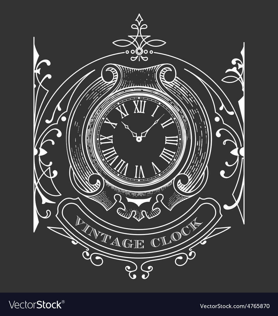 Vintage clock vector | Price: 1 Credit (USD $1)