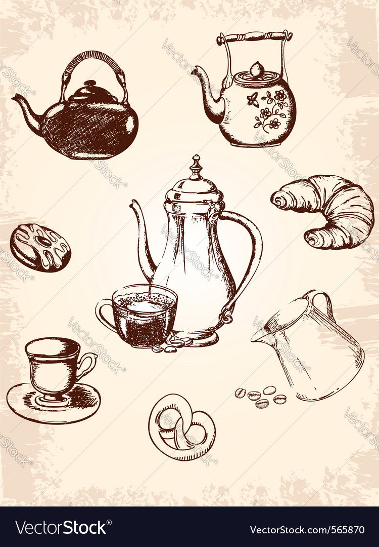 Vintage coffee set vector | Price: 1 Credit (USD $1)