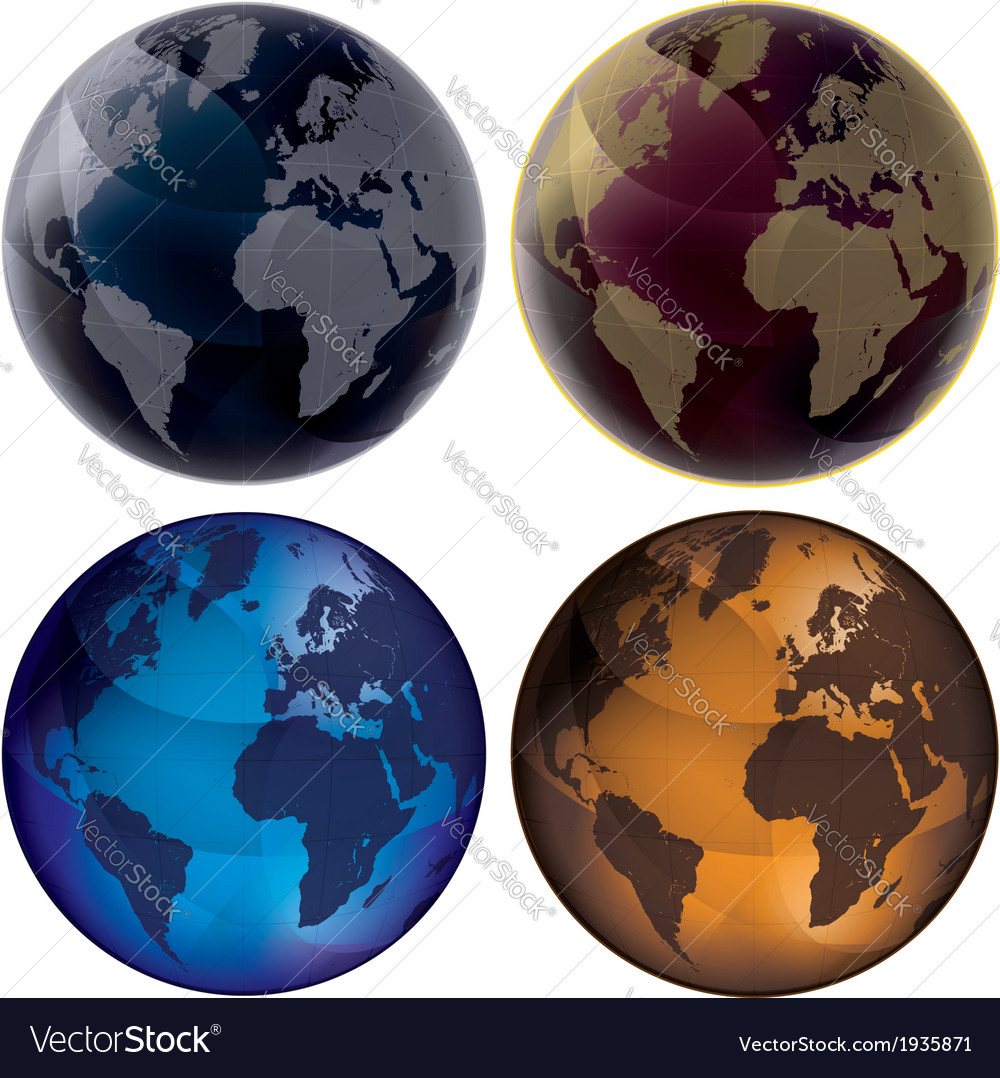 3d globe color set vector | Price: 1 Credit (USD $1)