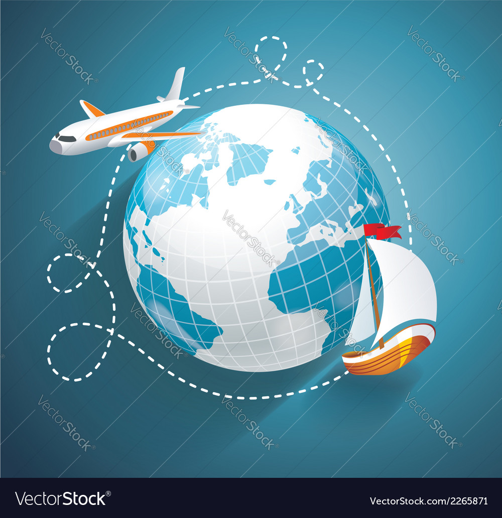 A world globe an airplane and yacht vector | Price: 1 Credit (USD $1)