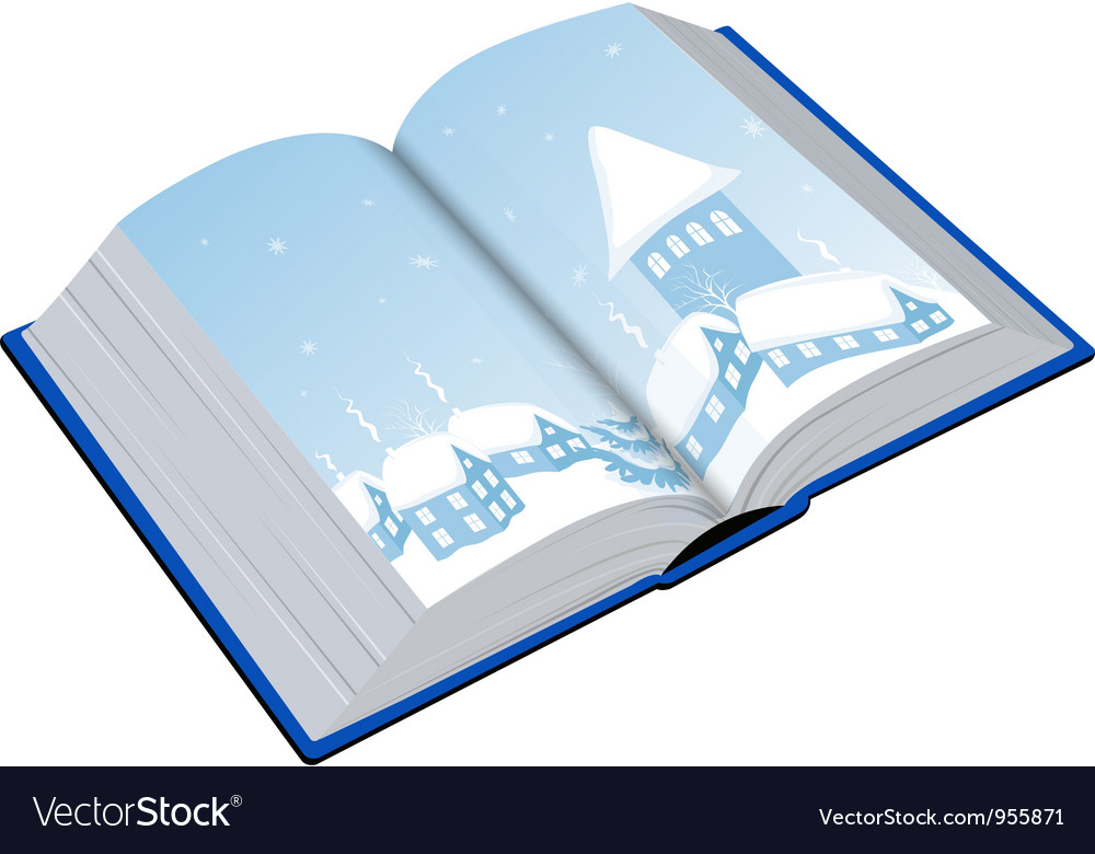 Open book with an of the winter vector | Price: 1 Credit (USD $1)