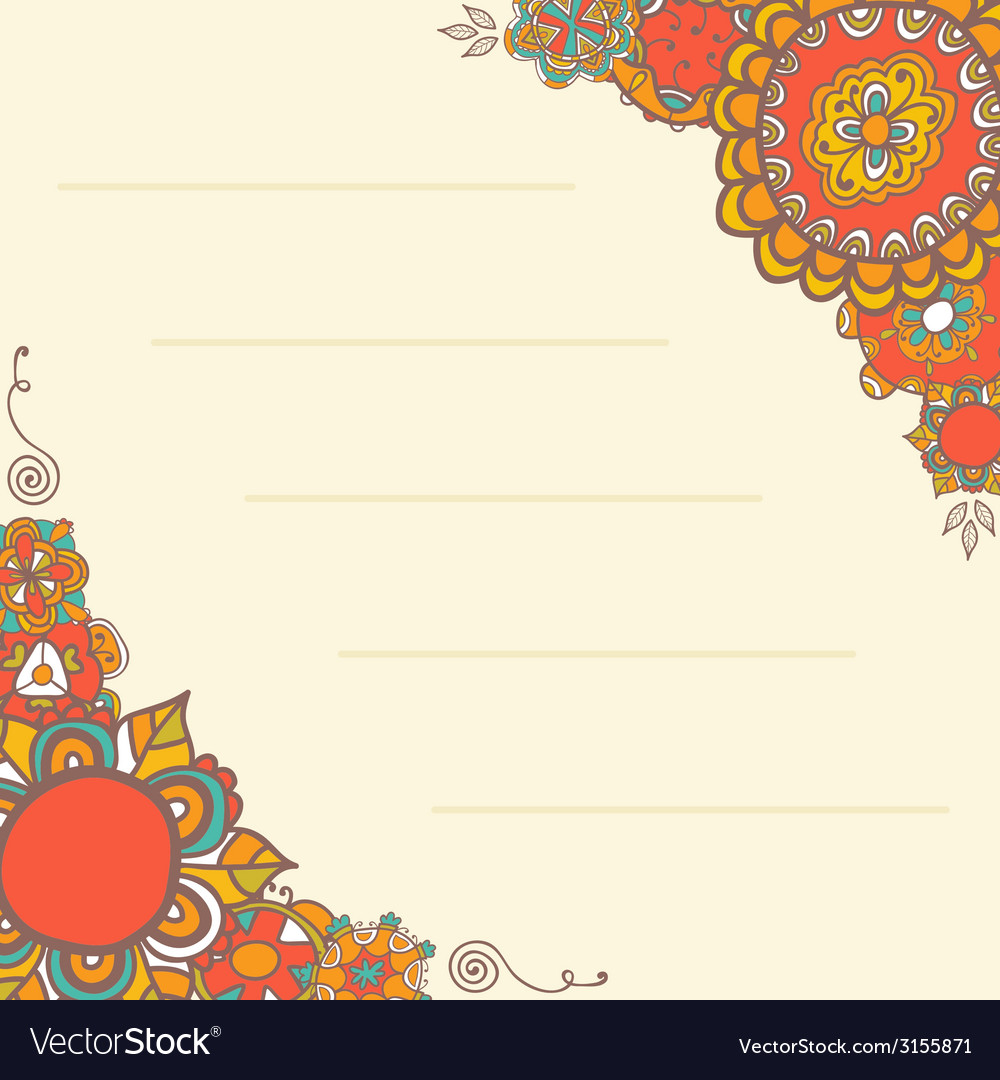 Ornamental greeting card with floral background vector | Price: 1 Credit (USD $1)