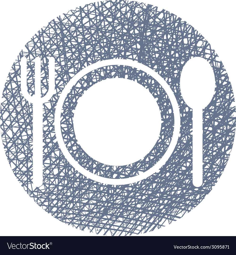 Plate with cutlery with hand drawn lines texture vector | Price: 1 Credit (USD $1)