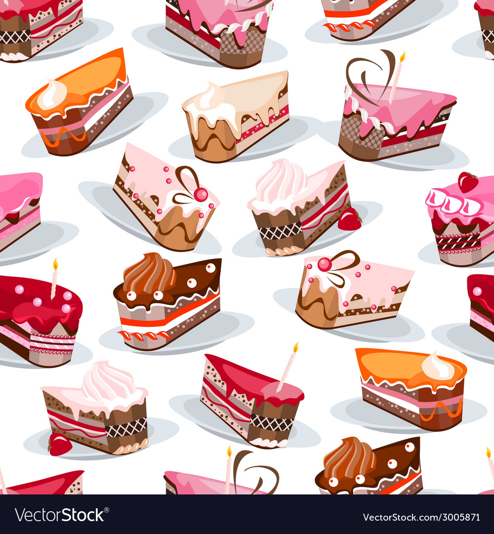 Seamless pattern with cake slices vector | Price: 1 Credit (USD $1)