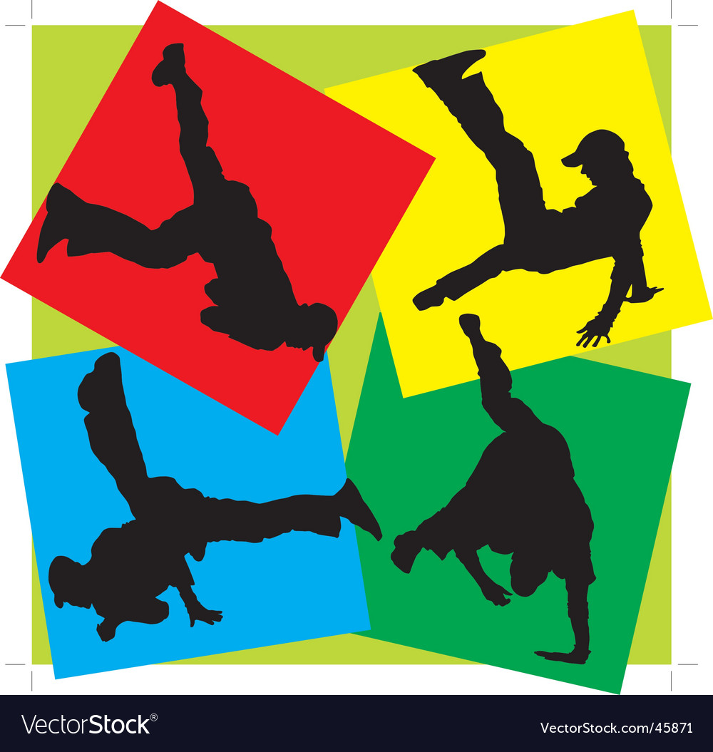 Silhouettes of break-dancers vector | Price: 1 Credit (USD $1)