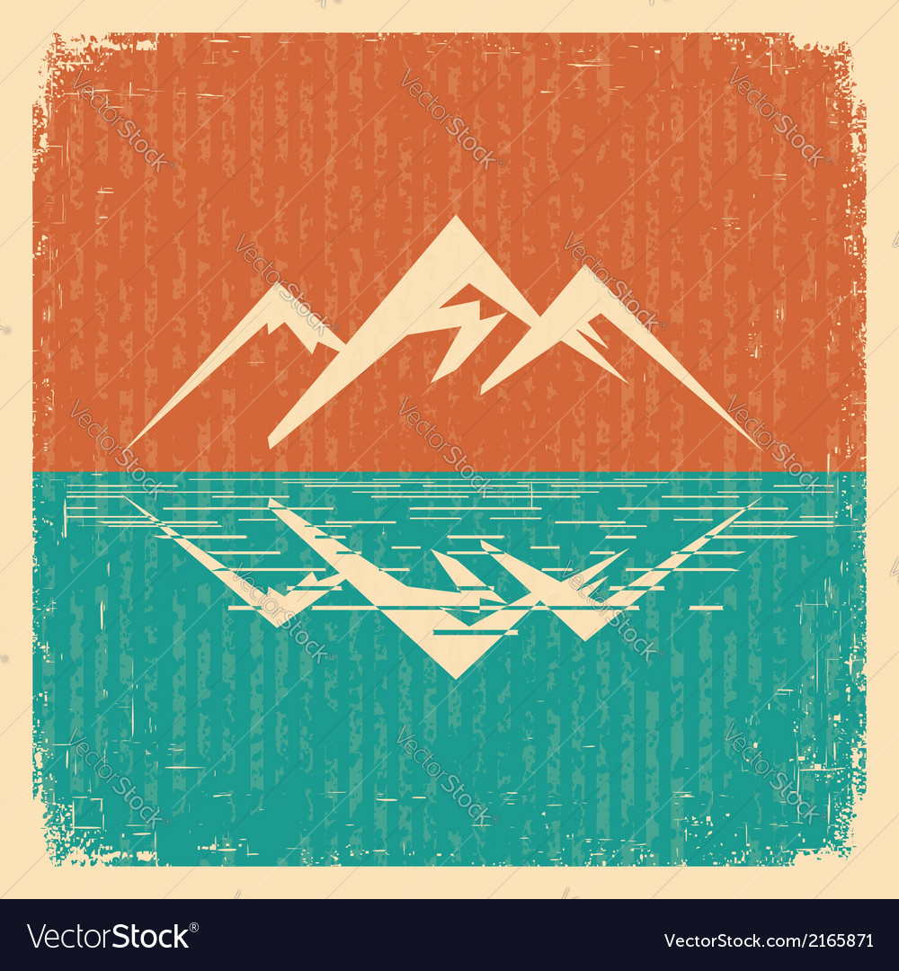Vintage nature landscape with mountains vector | Price: 1 Credit (USD $1)