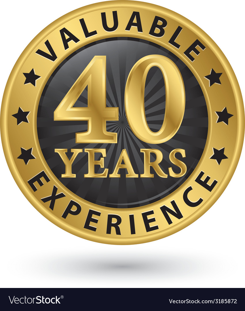 40 years valuable experience gold label vector | Price: 1 Credit (USD $1)