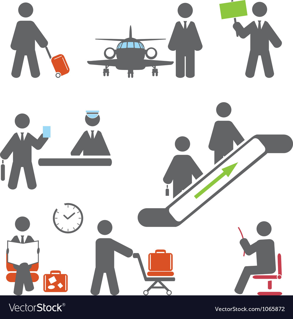 Air terminal icons vector | Price: 1 Credit (USD $1)