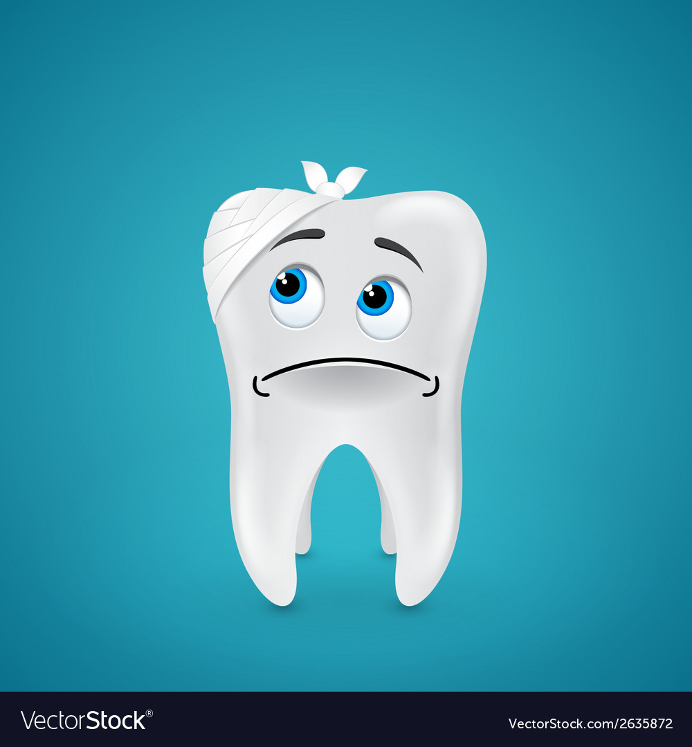 Bandaged sad tooth vector | Price: 1 Credit (USD $1)