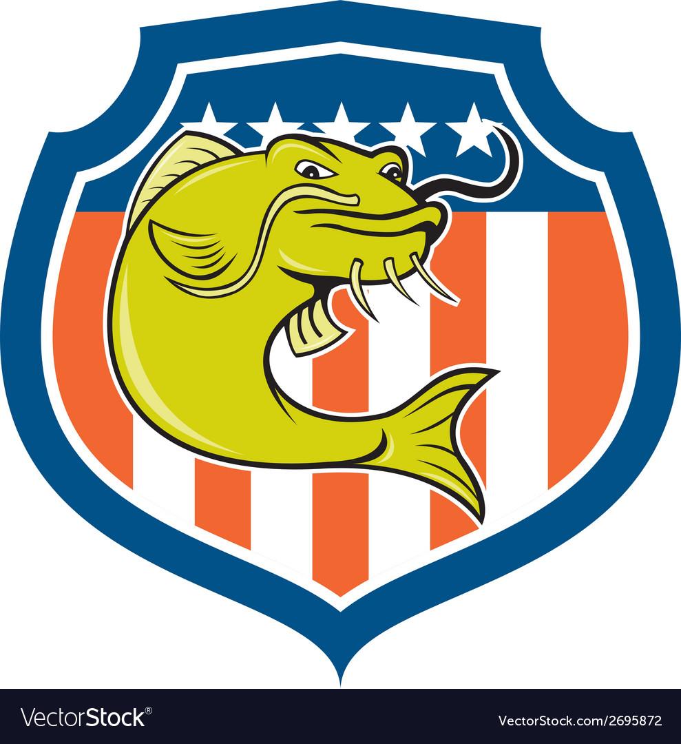 Catfish angryfish shield cartoon vector | Price: 1 Credit (USD $1)