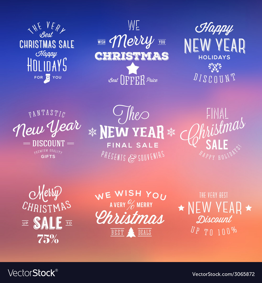 Christmas and new year vintage sales typography vector | Price: 1 Credit (USD $1)