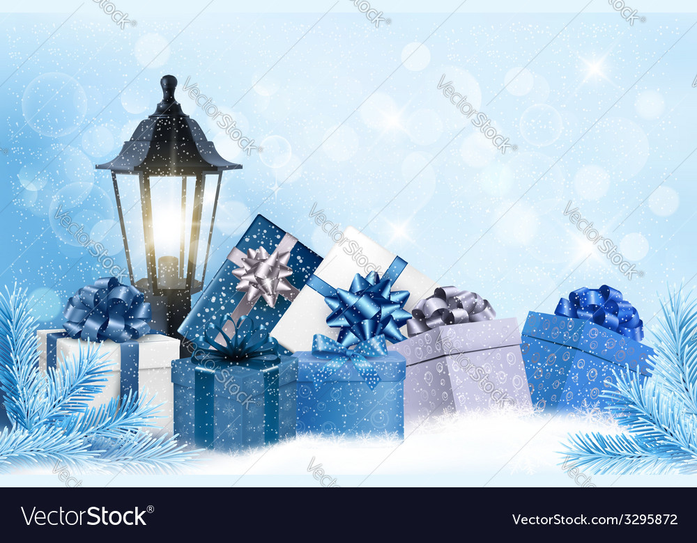 Christmas background with a lantern and presents vector | Price: 5 Credit (USD $5)